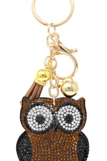 Rhinestone Owl Pocketbook Key Chain