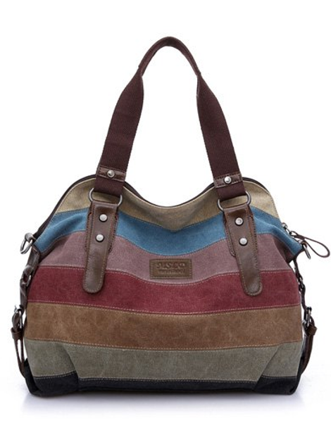 The Striped Down Buckle Hand Bag