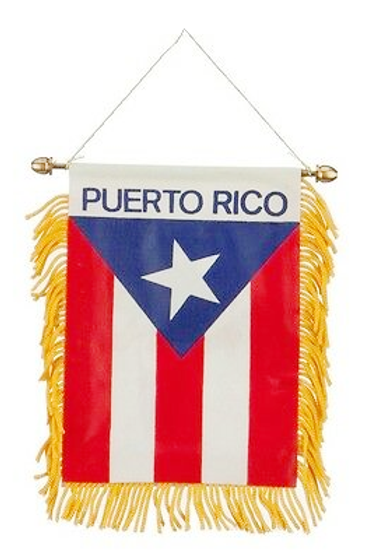 Puerto Rico Flag Mini Car Mirror Banner