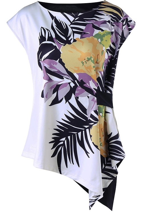 Cap Sleeve Tropical Leaf Asymmetric T-shirt