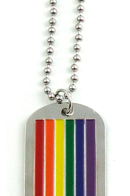 Rainbow Military Dog Tag Necklace