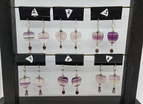 Fluorite Heart Earrings