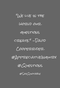 "quote - david cooperider ""we live in the world our questions create"""