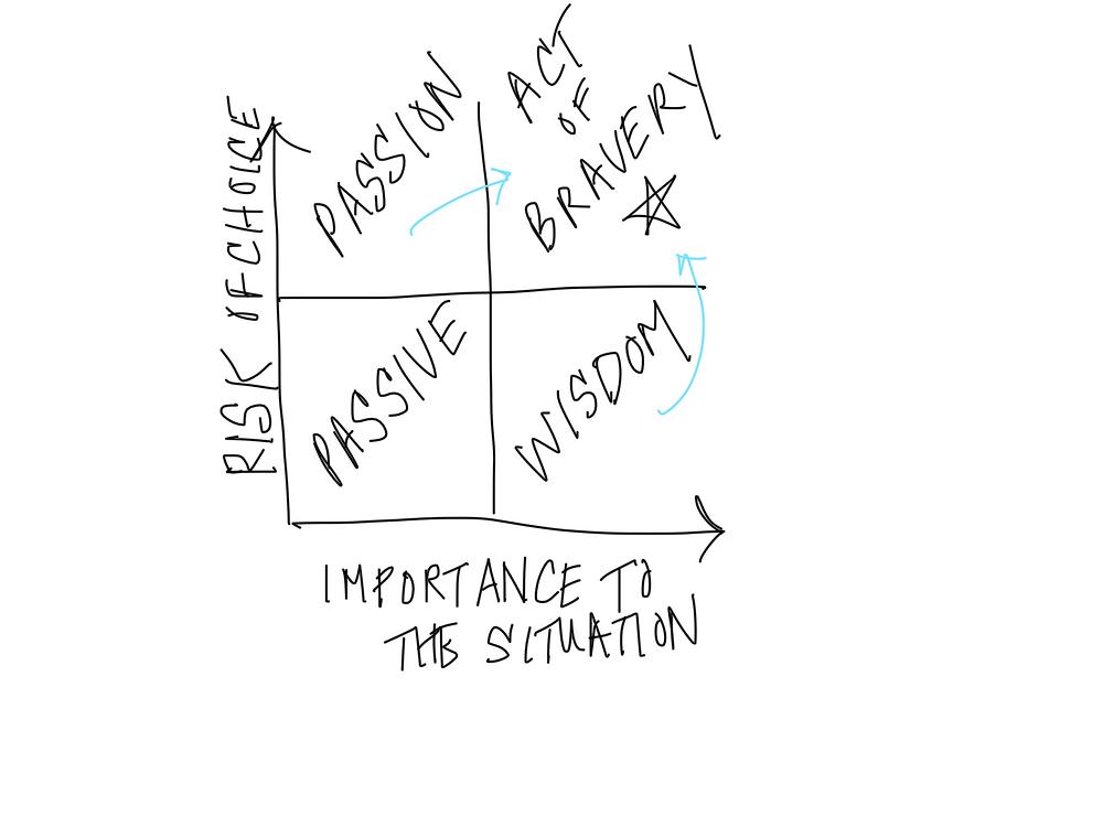 Lauren's Bravery Model (risk vs. importance)