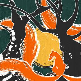 Kitune - fox with three teils