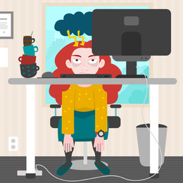 bad day, tired and upset redhead woman sittin in front of computer
