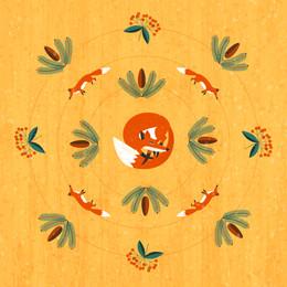 Mandala with sleeping fox