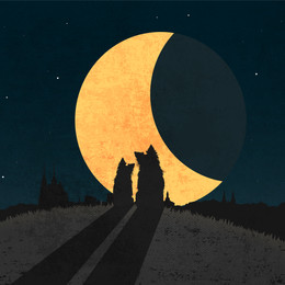 Silhouttes of two dogs sitting over a city againt big moon