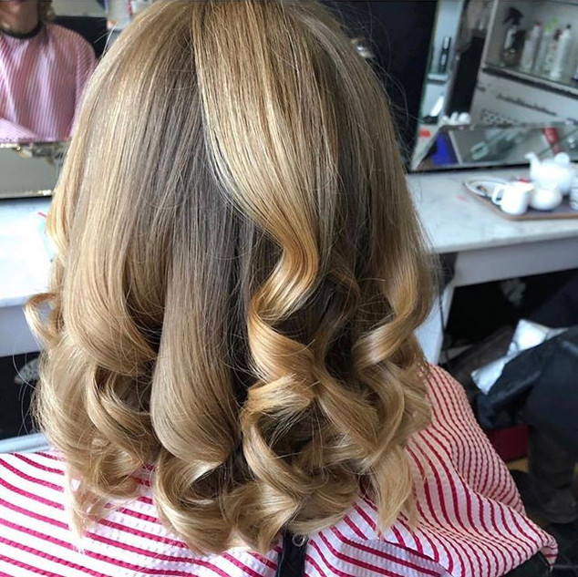 Natural balayage and ghd curls done by M