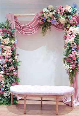 Wedding Arbour with Flowers & Draping