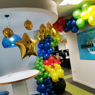 Super Mario Themed Balloon Installation