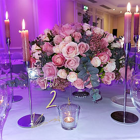 Pink & Foliage Wedding Centrepiece