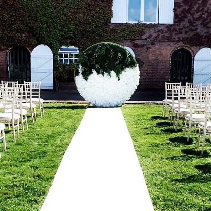 Circular Flower Wall Wedding Ceremony