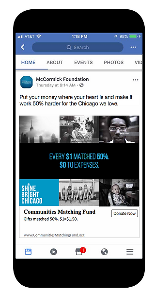 McCormick Communities Matching fund campaign, Social Media, Digital Advertising, Digital Marketing, Campaigns, Advertising, Direct Mail, Non-profit, Fundraising, Nonprofit, McCormick Foundation, Nonprofit Marketing