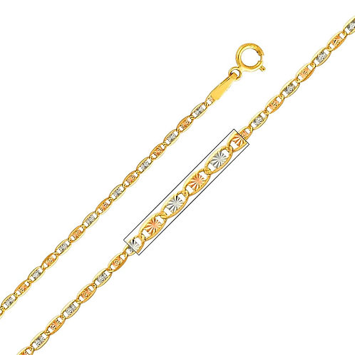 14k Tri-Tone (White, Yellow and Rose) Gold 1.5-mm Valentino Chain Necklace