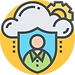 Cloud Security Icon on Yellow
