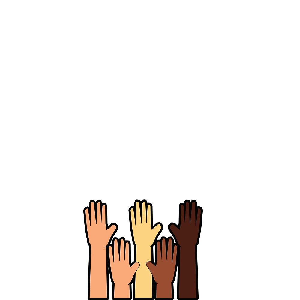 mains noires, blanches, marron, noires qui représentent la diversité