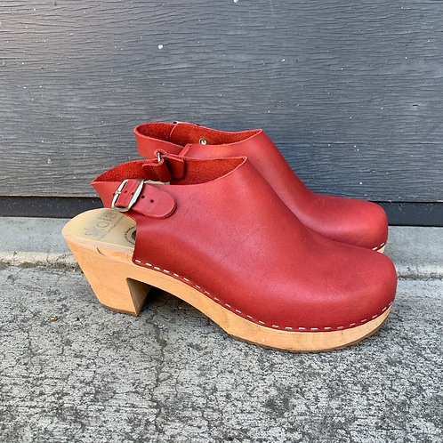 Red Leather Clogs
