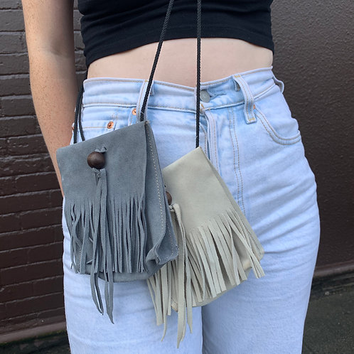 Gray Suede Fringe Purse