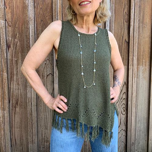 Olive Knit Fringe Top