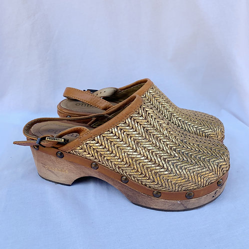 Woven Gold Clogs