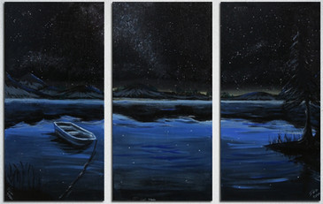 Night Time Lake Triptych