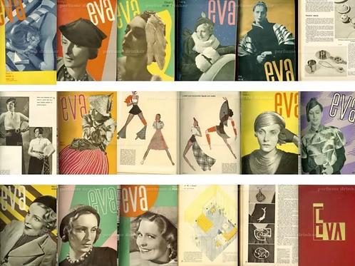 Eva, 1933-1934. Bound set of 22 copies of the scarce Czech avant-garde magazine.