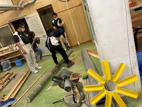 7.23に向けてアドベンチャーワールドさんのメインの竹あかりオブジェ製作が始まりました