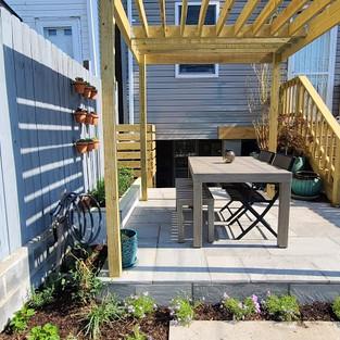 New garden installation including pergol