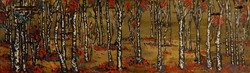 fox in the birch forest