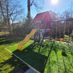 Artifical turf for play area