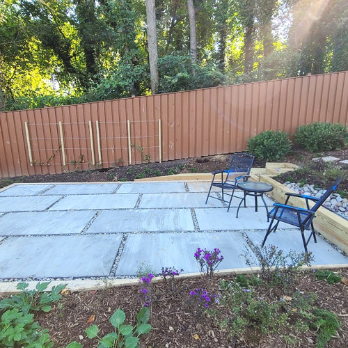 Newly installed - Large paver patio with native conservation landscape - located in Silver Spring, MD