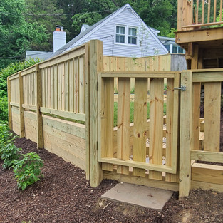 Newly built fence and terraced gardens