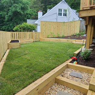 Newly built terraced gardens and fencing