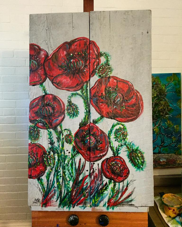 poppies on old barn wood 2016