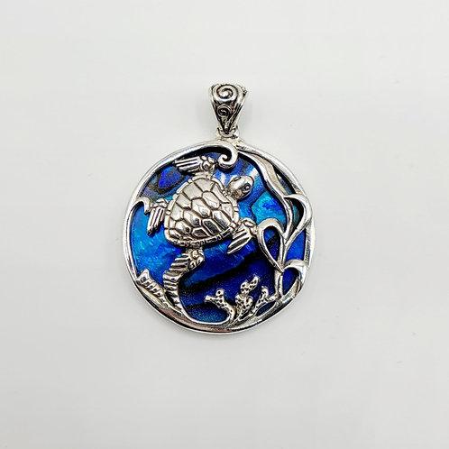 Blue Abalone Turtle Pendant