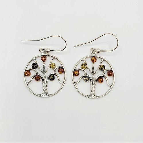 Amber Tree of Life Earrings