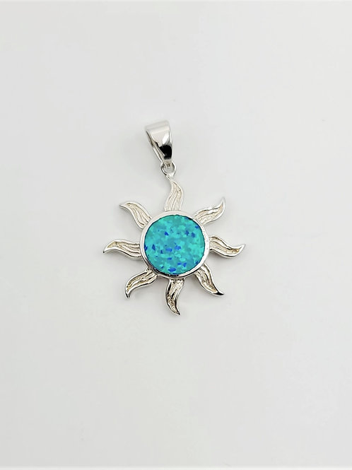 Lab-created Opal Sun Pendant