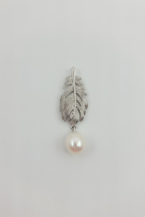 Feather with Freshwater Pearl Pendant