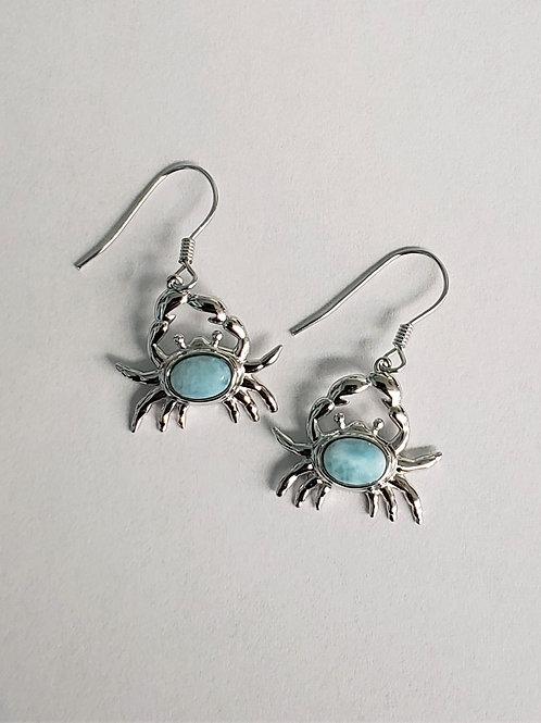 Larimar Crab Earrings