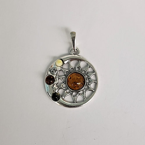 Amber Sun and Moon Pendant