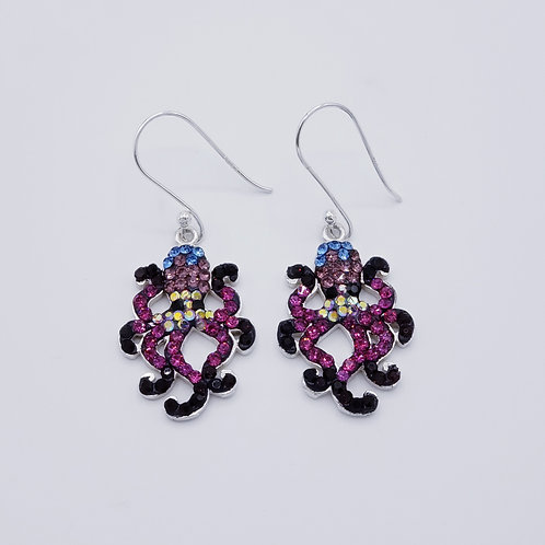 Crystal Octopus Earrings