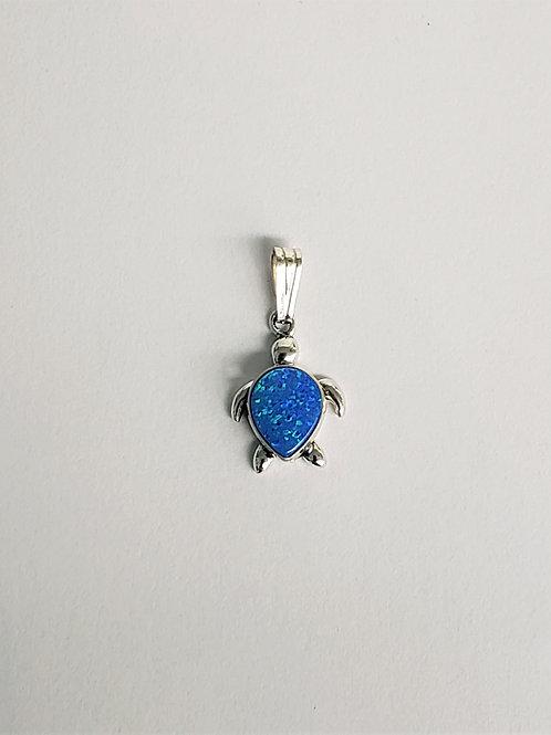 Lab-created Opal Turtle Pendant