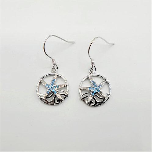 Blue Topaz Starfish Earrings