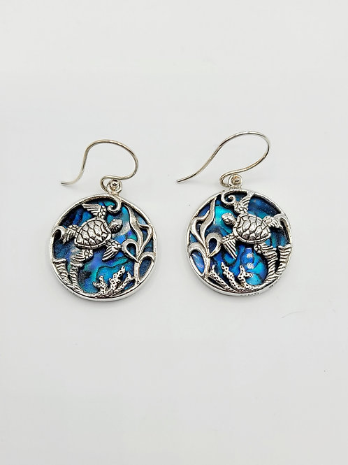 Blue Abalone Turtle Earrings