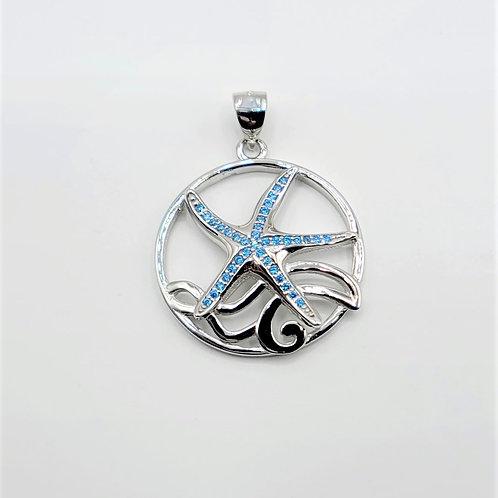 Blue Topaz Starfish Pendant