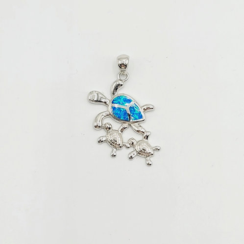 Lab-created Opal Turtle with Baby Turtles Pendant