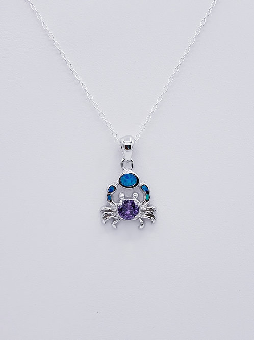 Lab-created Opal Amethyst Crab Pendant - small