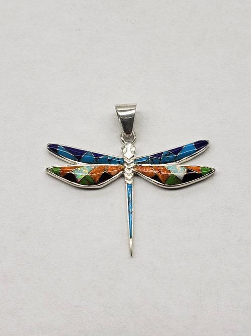 Multi-Stone Inlay Dragonfly Pendant