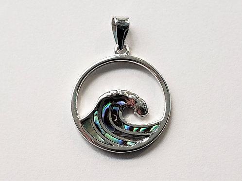 Abalone Wave Pendant - large